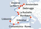 Amsterdam, Zeebrugge, Le Havre, Douvres, Portland, Navigation, La Rochelle, Bordeaux, Bordeaux, Navigation, Navigation, Navigation, Lisbonne, Gibraltar, Carthagene, Navigation, Civitavecchia - Rome