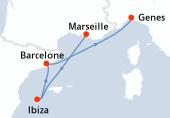 Marseille, Ibiza, Barcelone, Genes