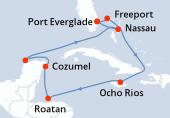 Port Everglade, Freeport, Navigation, Ocho Rios, Navigation, Roatan, Cozumel, Progreso (Yucatan), Navigation, Nassau, Port Everglade