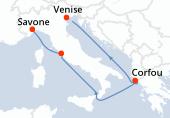 Venise, Navigation, Corfou, Navigation, Civitavecchia - Rome, Savone