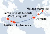 Port Everglade, Nassau, Navigation, Amber cove, Tortola, Philipsburg SM, Antigua, Navigation, Navigation, Navigation, Navigation, Navigation, Navigation, Santa Cruz de Tenerife, Arrecife, Navigation, Malaga, Navigation, Marseille