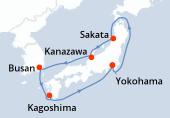 Yokohama, Navigation, Sakata, Kanazawa, Busan, Kagoshima, Navigation, Yokohama