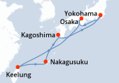 Yokohama, Osaka, Osaka, Navigation, Keelung, Keelung, Nakagusuku, Kagoshima, Navigation, Yokohama