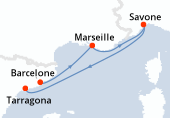 Barcelone, Marseille, Savone, Tarragona