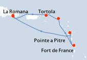 Pointe a Pitre, Navigation, La Romana, La Romana, Ile Catalina(DOM), Tortola, Philipsburg SM, Fort de France, Pointe a Pitre