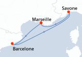 Marseille, Barcelone, Savone, Marseille