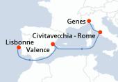 Genes, Civitavecchia - Rome, Navigation, Valence, Navigation, Lisbonne