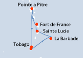 Fort de France, Pointe a Pitre, Navigation, Tobago, Saint George (Grenade), La Barbade, Sainte Lucie, Fort de France