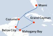 Miami, Navigation, Grand Cayman, Mahogany Bay, Belize City, Cozumel, Navigation, Miami