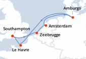 Southampton, Zeebrugge, Amsterdam, Amsterdam, Amburgo, Navigazione, Le Havre, Southampton