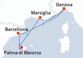 Genova, Barcellona, Palma di Maiorca, Palma di Maiorca, Marsiglia, Genova