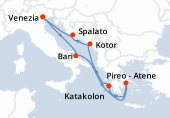 Venezia, Bari, Navigazione, Pireo - Atene, Katakolon, Kotor, Spalato, Venezia