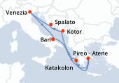 Bari, Navigazione, Pireo - Atene, Katakolon, Kotor, Spalato, Venezia, Bari