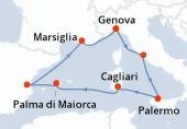Genova, Civitavecchia - Roma, Palermo, Cagliari, Palma di Maiorca, Valencia, Marsiglia, Genova