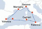 Valencia, Marsiglia, Genova, Civitavecchia - Roma, Palermo, Cagliari, Palma di Maiorca, Valencia