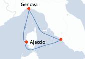 Genova, Civitavecchia - Roma, Ajaccio, Genova