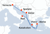 Bari, Navigazione, Pireo - Atene, Katakolon, Kotor, Spalato, Venezia