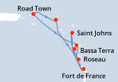 Fort de France, Pointe a pitre(Guadalupa), Road Town, Philipsburg (Saint Maarten), Roseau, Bassa Terra, Saint Johns, Fort de France