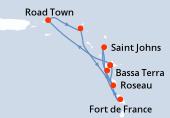 Pointe a pitre(Guadalupa), Road Town, Philipsburg (Saint Maarten), Roseau, Bassa Terra, Saint Johns, Fort de France, Pointe a pitre(Guadalupa)