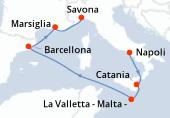 Napoli, Catania, La Valletta - Malta -, Navigazione, Barcellona, Marsiglia, Savona