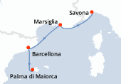 Savona, Marsiglia, Barcellona, Palma di Maiorca
