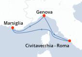 Genova, Civitavecchia - Roma, Marsiglia, Genova