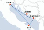Bari, Dubrovnik, Spalato, Venezia, Bari