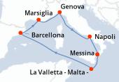 Messina, La Valletta - Malta -, Navigazione, Barcellona, Marsiglia, Genova, Napoli, Messina