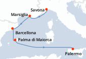 Savona, Marsiglia, Barcellona, Palma di Maiorca, Navigazione, Palermo