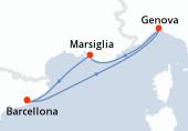 Barcellona, Genova, Marsiglia, Barcellona