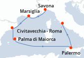 Savona, Marsiglia, Barcellona, Palma di Maiorca, Navigazione, Palermo, Civitavecchia - Roma