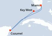 Miami, Navigazione, Cozumel, Navigazione, Key West, Miami