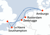 Southampton, Zeebrugge, Rotterdam, Rotterdam, Amburgo, Navigazione, Le Havre, Southampton