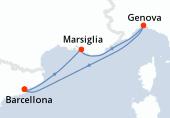 Barcellona, Marsiglia, Genova, Barcellona