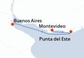 Buenos Aires, Punta del Este, Montevideo