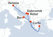 Bari, Corfu, Pireo - Atene, Navigazione, Kotor, Dubrovnik, Venezia