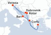Venezia, Bari, Corfu, Pireo - Atene, Navigazione, Kotor, Dubrovnik, Venezia