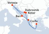 Bari, Corfu, Pireo - Atene, Navigazione, Kotor, Dubrovnik, Venezia, Bari