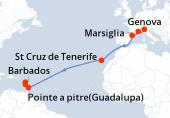 Savona, Marsiglia, Barcellona, Navigazione, Navigazione, St Cruz de Tenerife, Navigazione, Navigazione, Navigazione, Navigazione, Navigazione, Navigazione, Barbados, Fort de France, Pointe a pitre(Guadalupa)