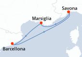 Savona, Marsiglia, Barcellona, Savona