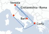 Bari, Venezia, Navigazione, Corfu, Navigazione, Civitavecchia - Roma