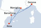 Genova, Marsiglia, Ibiza, Barcellona, Genova
