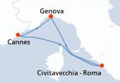 Genova, Civitavecchia - Roma, Cannes, Genova