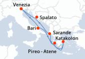 Venezia, Bari, Katakolon, Pireo - Atene, Sarande, Spalato, Venezia