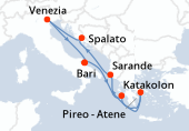 Bari, Katakolon, Pireo - Atene, Sarande, Spalato, Venezia, Bari