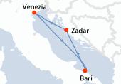 Bari, Zadar, Venezia, Bari
