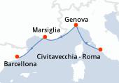 Civitavecchia - Roma, Genova, Marsiglia, Barcellona