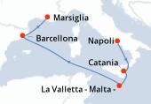 Napoli, Catania, La Valletta - Malta -, Navigazione, Barcellona, Marsiglia
