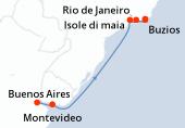 Buenos Aires, Montevideo, Navigazione, Navigazione, Isole di maia, Buzios, Cabo Frio, Rio de Janeiro