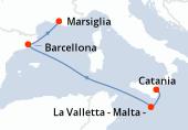 Catania, La Valletta - Malta -, Navigazione, Barcellona, Marsiglia